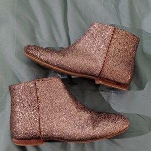 Zara pink glitter zipper ankle boots